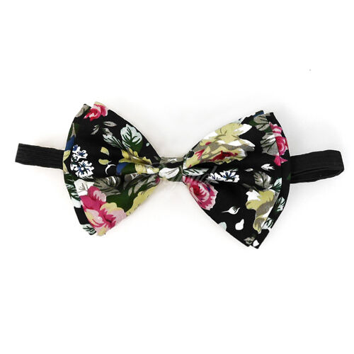 USA Floral Black Suspender and Bow Tie Set for Adults Men Women Teenagers