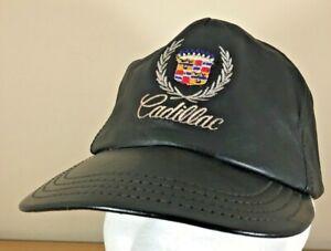 Vintage-Cadillac-Logo-Black-Leather-Cap-Hat-Embroidered-Hatquarters-USA-Auto-Car