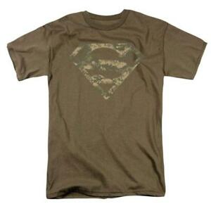 Superman-Army-Camo-Shield-DC-Comics-Logo-Hero-Tee-Adult-Men-039-s-Graphic-T-Shirt