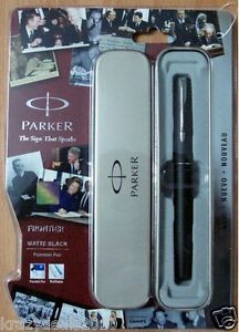 Parker-Frontier-Matte-Black-CT-Chrome-Trim-Fountain-Ink-Pen-Thanksgiving-gift