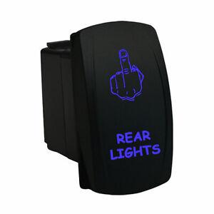 BLUE DUAL LED BACKLIT ROCKER SWITCH LASER ETCHED REAR LIGHTS OFFROAD TRUCK