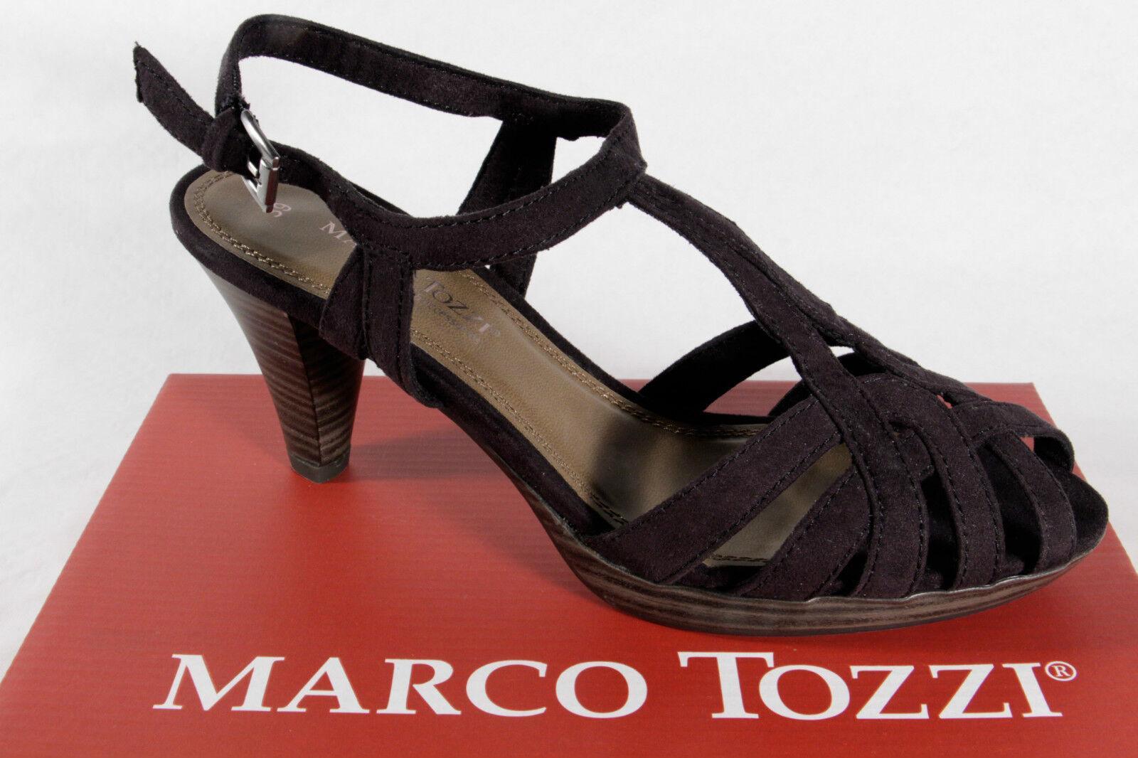Marco Tozzi Sandalia Mujer, Negro, Aspecto de ante, Suela de Goma, Nuevo