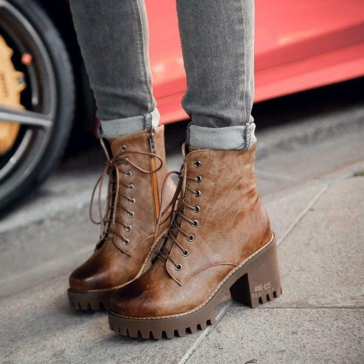 Women's retro brown lace-up punk ankle boots zip booties winter shoes size 7 8