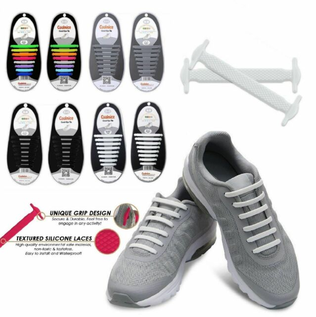 10Pcs For Kids Adult Easy No Tie Shoelaces Elastic Silicone Flat Lazy Shoes Lace