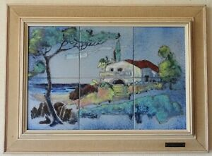 Paysage-Provencal-emaux-CARREAU-Ceramique-louis-Giraud-Vallauris-design-1950