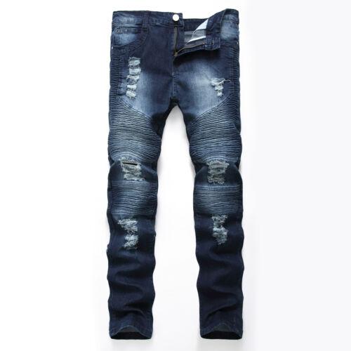 UK Mens Ripped Denim Pants Skinny Biker Stretchy Jeans Frayed Destroyed Slim Fit