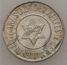 1942 GHETTO Juif Pièce 10 PFENNIG QUITTUNG UBER LITZMANNSTADT WW2 Varsovie