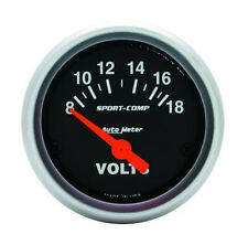 "Auto Meter Sport-Comp Electric Voltmeter Gauge 2-1/16"" (52mm) 8 - 18 Volts"