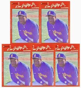 (5) 1990 Donruss #365 KEN GRIFFEY JR. Rookie Card Seattle Mariners HOF Card LOT