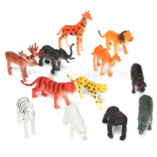 Wild Zoo Safari Animales Modelo 12Pcs León Tigre Leopardo Jirafa Figura Juguete Niños