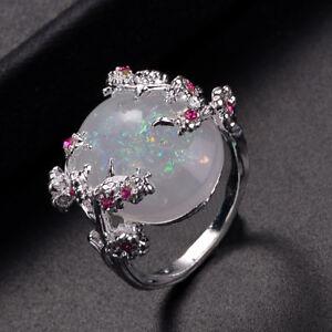Elegante-Silber-Plum-Flower-Feueropal-Ringe-fuer-Frauen-Schmuck-grossen-Stein-Ring