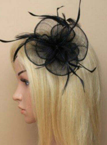 Large Looped Clip Clip Feather Fascinator Wedding Ladies Day Race Royal Ascot