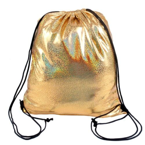 SHINY HOLO GOLD//SILVER DRAWSTRING BAGS Kids School Books Lunch Dance Swim PE Kit