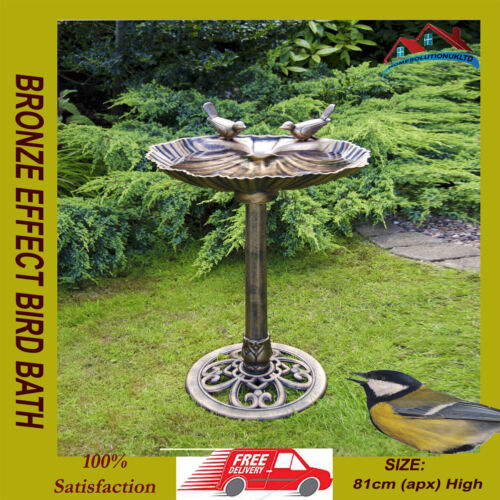 BRONZE EFFECT BIRD BATH POLYRESIN OYSTER SHELL SHAPE TABLE FREESTANDING PEDASTAL