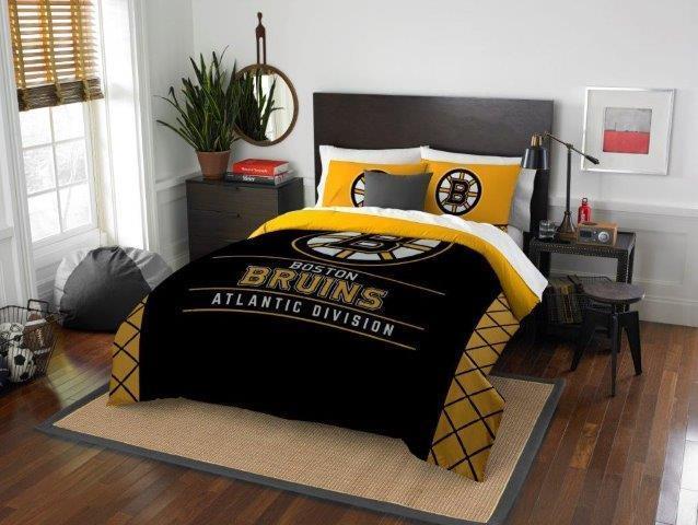 Boston Bruins - 3 Pc FULL   QUEEN Größe Printed Comforter   Sham Set