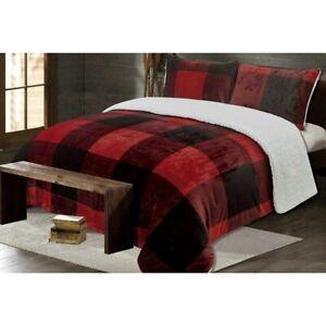 Black-Red-Buffalo-Plaid-Micro-Fleece-Faux-Fur-Shepa-King-Queen-Comforter-Set