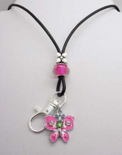 Pink Glitter Butterfly LEATHER LANYARD ID Badge Pass Holder NECK STRAP