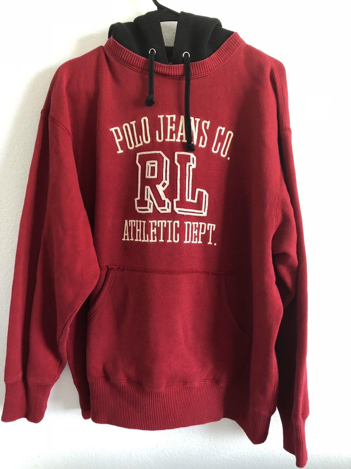 VTG. POLO JEANS CO RALPH LAUREN ATHLETE DEPT  Herren ROT Pullover Hooded Sweater L