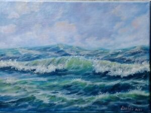 Art9-034-12-034-Storm-oil-painting-Seascape-landscape-ocean-waves-seascapebyLaura