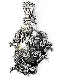 YIN YANG DRAGON TIGER BAGUA STERLING 925 SILVER JAPANESE MARTIAL ...
