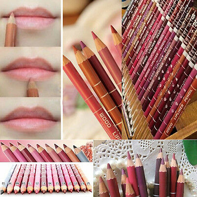 Hot 12 PCS Professional Lipliner Waterproof Lip Liner Pencil 15CM 12 Colors