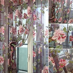 Floral-Tulle-Fenetre-panneau-rideau-voiles-transparents-Door-Room-Rideau-echarpe