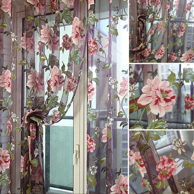 Floral Tulle Fenêtre panneau-rideau voiles transparents Door Room Rideau écharpe