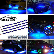 "4pcs Blue 12"" 30CM 15 LED Car Motors Truck Flexible Strip Light Waterproof 12V"