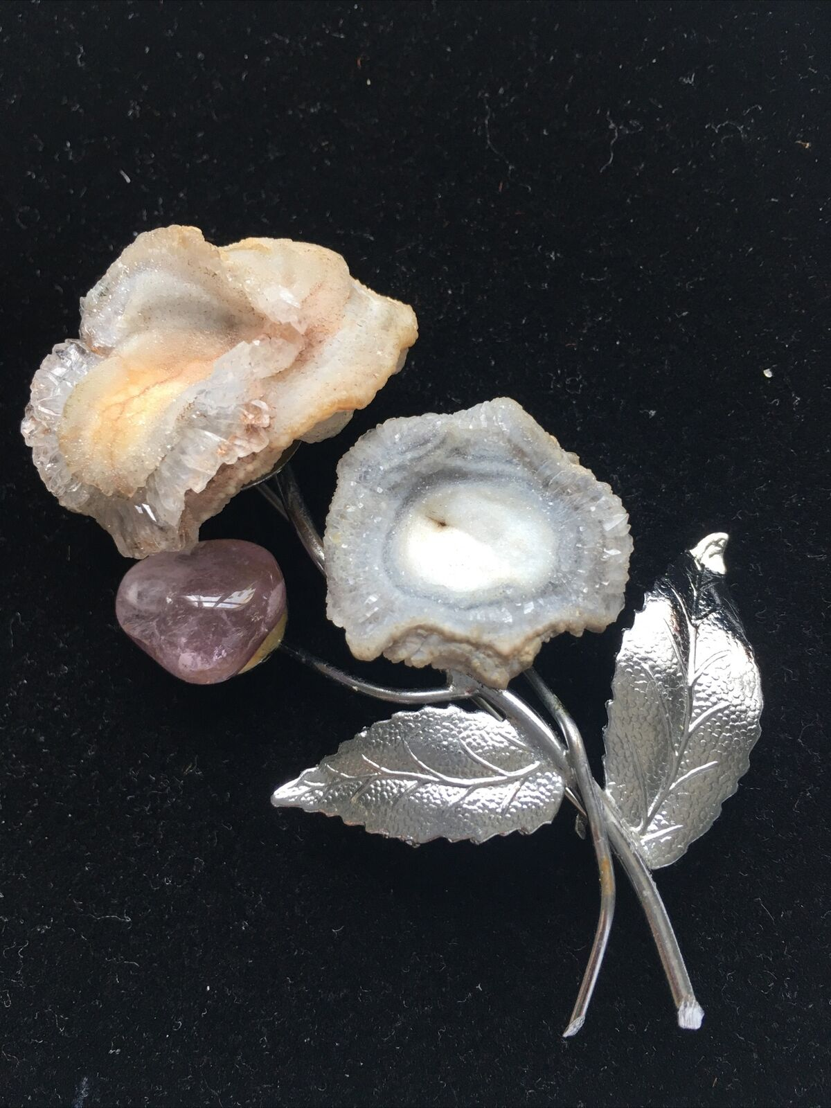 Geode Druzy Flower Brooch