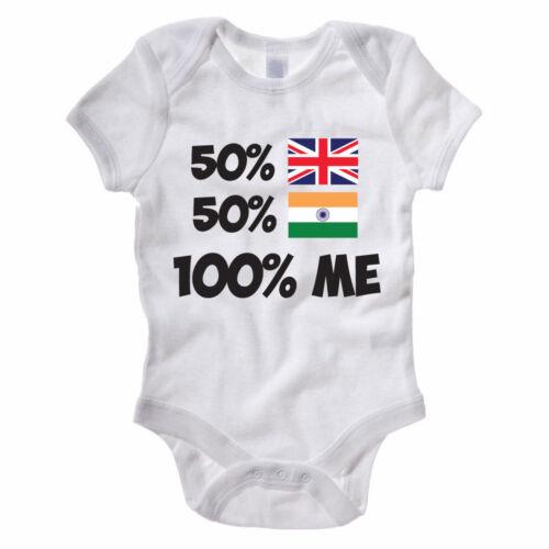 Novelty Themed Baby Grow UK India 50/% BRITISH 50/% INDIAN 100/% ME Asia