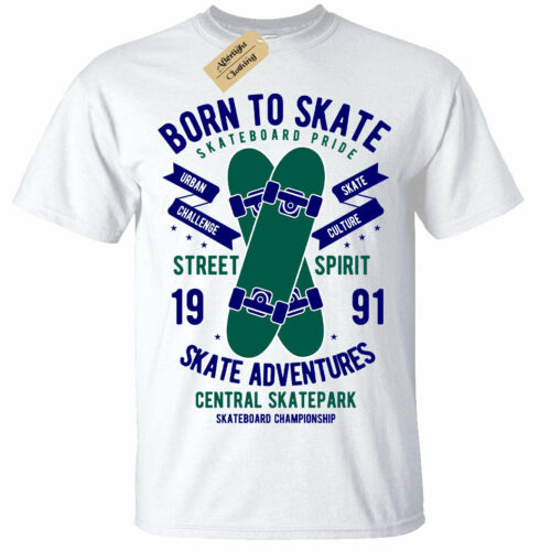 Born To Skate T-shirt Skate-Board Planche Park Patinage Tee Homme