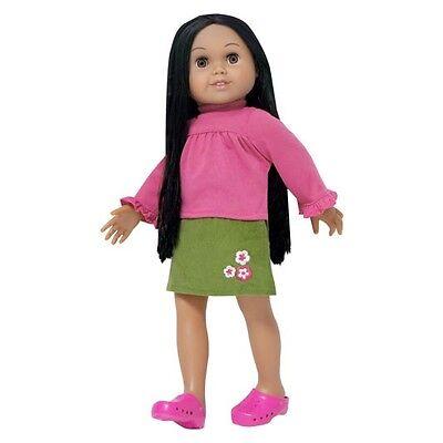 "Doll Clothes 18/"" Leotard Teal Skirt Pink Embroidered Flower Fits AG Dolls"