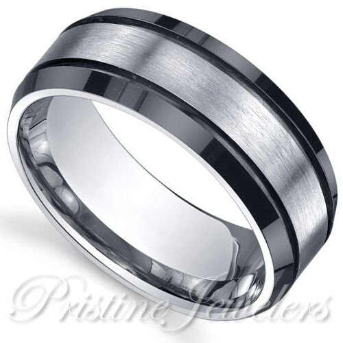New 8mm Titanium Men Silver & Black Brushed Engagement Wedding Band Promise Ring