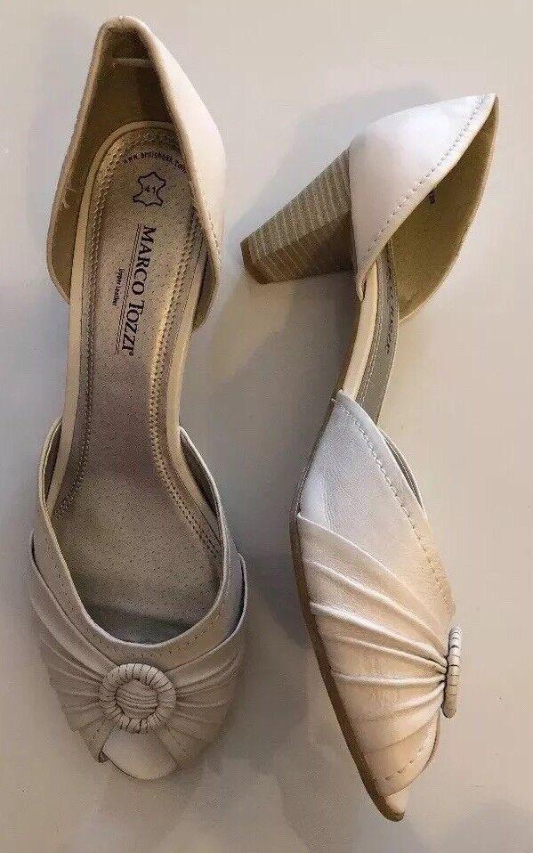 Wedding Bride Toe Retro Vintage Pinup Peep Toe Bride Shoes Genuine Leather White Size 41/8 534836