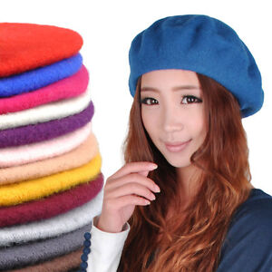 4e3eecd1d54a6 Vintage Women Lady 100% Wool French Berets Beret Tam Beanie Cap ...
