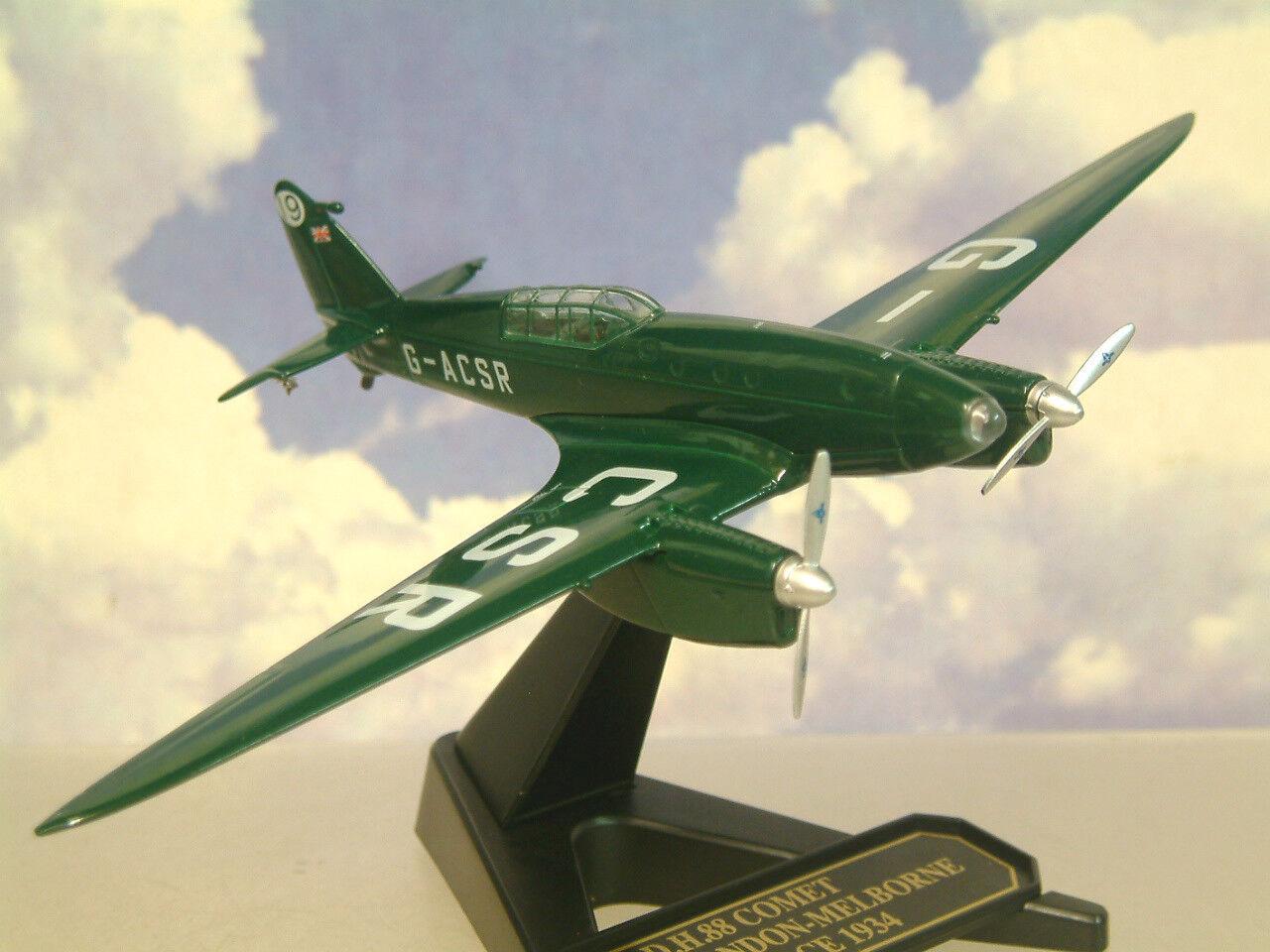 Oxford 1 72 Dehavilland Dh88 Comet G-Acsr 1934 Air Course No.19 en Vert 72com003