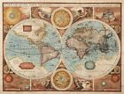 Vintage Medievil World Map 1626 CANVAS PRINT poster A3