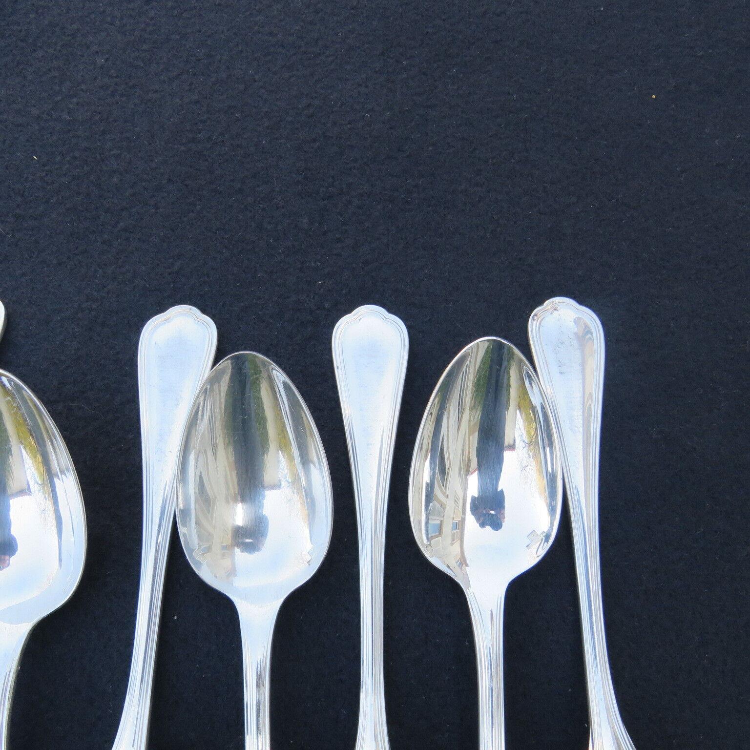 CHRISTOFLE ; ménagère de 10 cuillères cuillères cuillères de table en métal Silberé modèle spatours 617a50