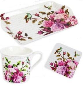 Tea Gift Set 9oz Coffee Tea Mug Biscuit Tray Coaster Gift Boxed Rose Design Ebay