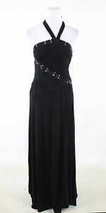 Black-BCBG-MAX-AZRIA-halter-neck-beaded-trim-formal-pleated-bodice-maxi-dress-4