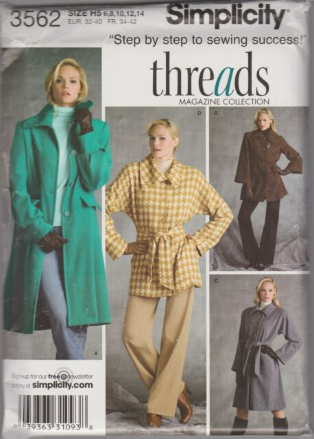 From UK Sewing  Pattern Misses' Lined Coats, in two lengths Sizes 6 - 14  # 3562