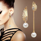 Elegant Long Earring Stud Alloy Rhinestone Earring Ladies Crystal Pearl