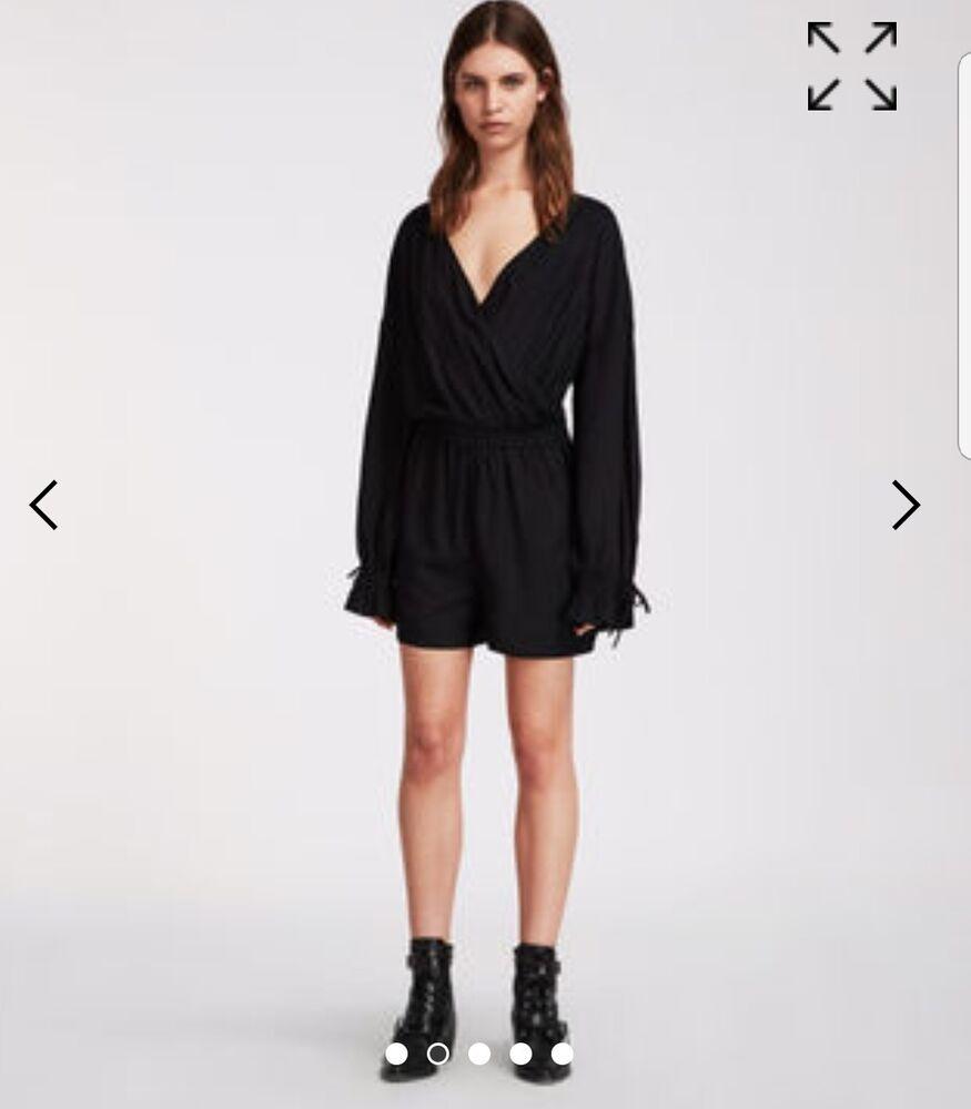 Bnwt Allsaints Penny Black Long Sleeve Playsuit Size Medium Rrp£128
