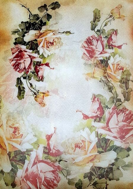 Rice Paper - for Decoupage - Sheet - Scrapbooking - A4  - Roses Frame