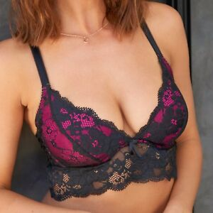cefce91ead Image is loading Pour-Moi-Amour-Convertible-Underwired-Bralette -Black-Fuchsia-