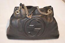 Gucci Soho Black Pebbled Leather Gold Double Chain Tassel Shoulder Handbag 7edaed64d8a6c