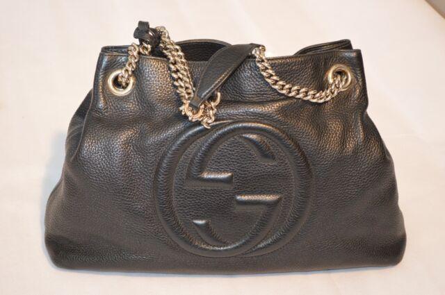 ed7708fab Gucci Soho Black Pebbled Leather Gold Double Chain Tassel Shoulder Handbag
