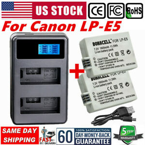 LCD Charger for Canon EOS1000D 450D 500D Rebel XS XSi Kiss X3 2× LP-E5 Battery