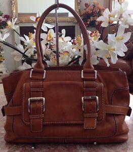c801e0602f63 Image is loading Michael-Kors-Vintage-Tan-Brown-Leather-Buckle-Satchel-