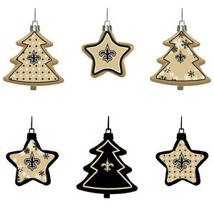 New Orleans Saints Christmas Ornaments.Details About New Orleans Saints Shatterproof Trees Stars Christmas Tree Ornaments 6 Pack